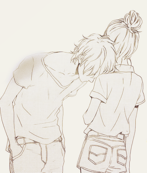 Couple anime and drawing image on we heart it