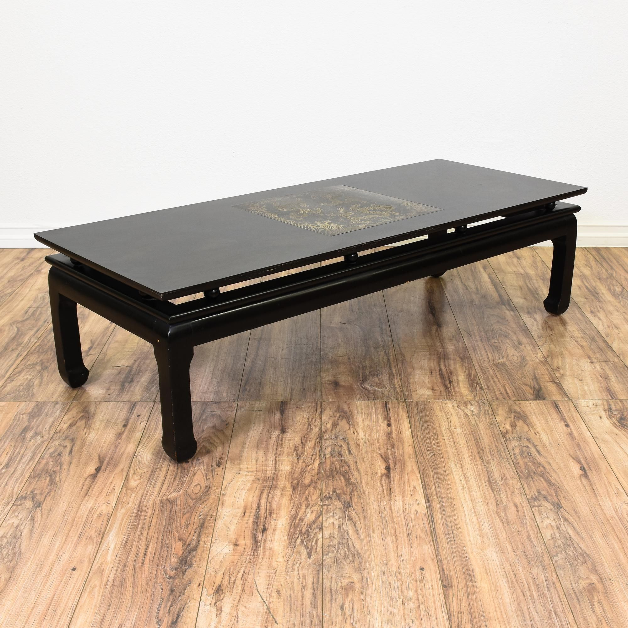 Black Asian Style Gold Dragon Coffee Table Coffee Table Long