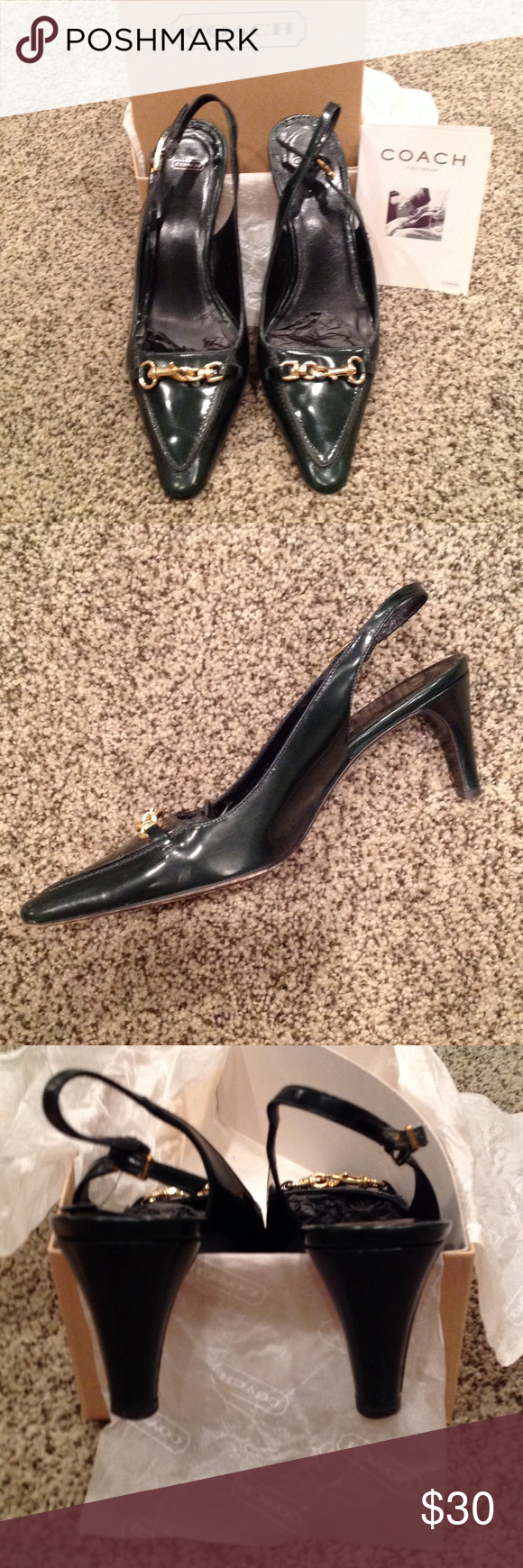 Coach sling back heels Pointed toe, 3 inch heel. Gold