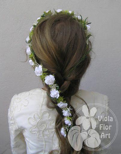 Wianuszki Z Kwiatow Sztucznych Viola Flor Art First Communion Hairstyles Communion Hairstyles Hair Accessories