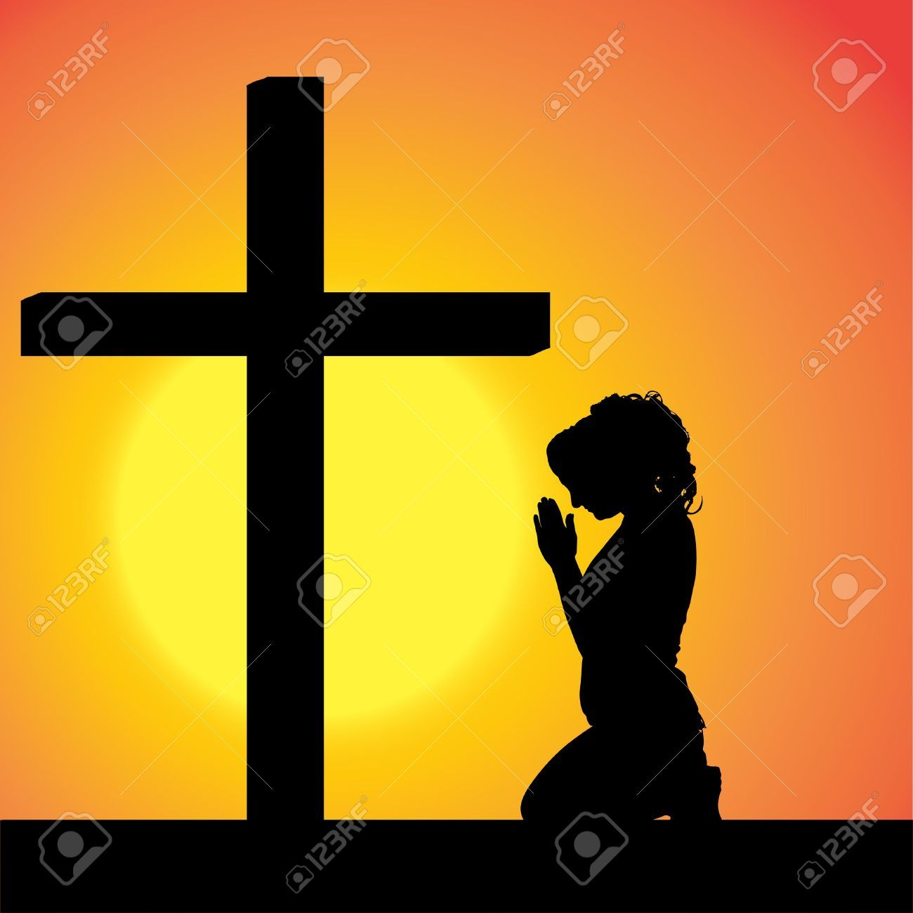 Here You Can See The Woman Praying At Cross Clipart Collection Use These For Your Documents Web Sites Art Projects
