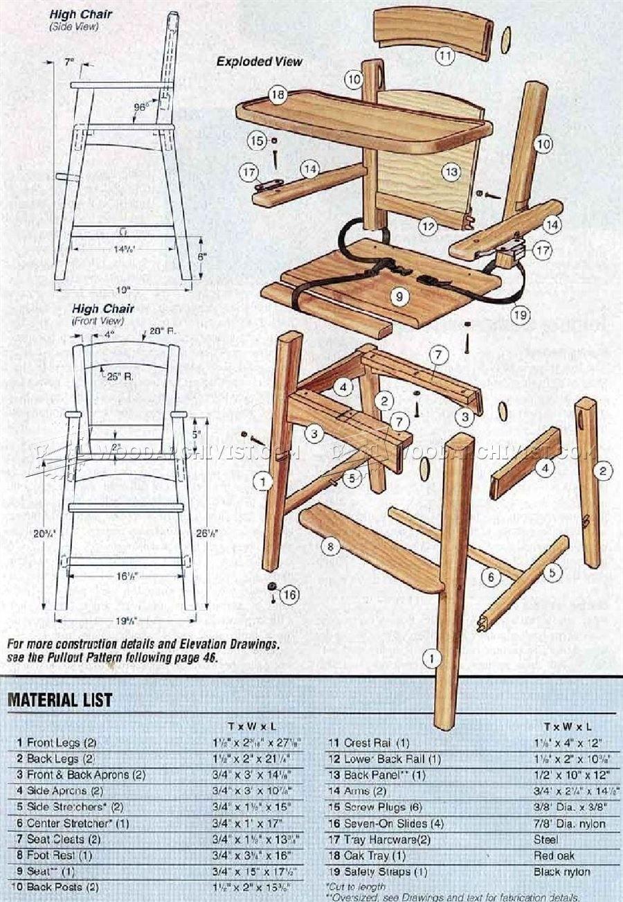 Wooden High Chair Plans | Chaise haute, Chaise bebe, Chaise