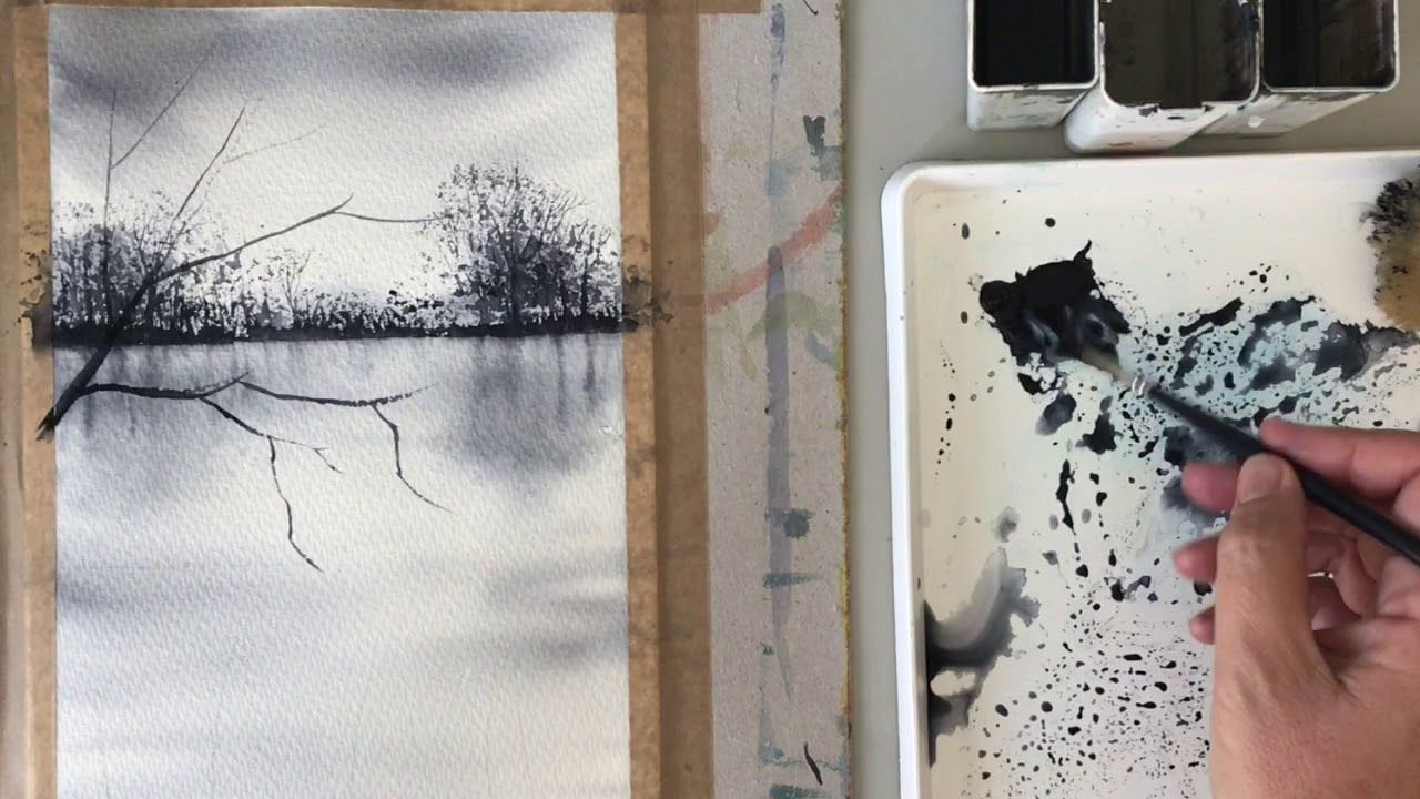 Easy Watercolour Painting Using One Colour Paynes Grey Easy