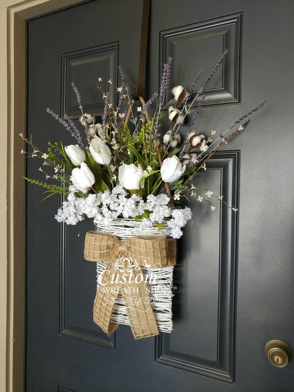 Cotton wreathfarmhouse wall decortulip wreathfront door