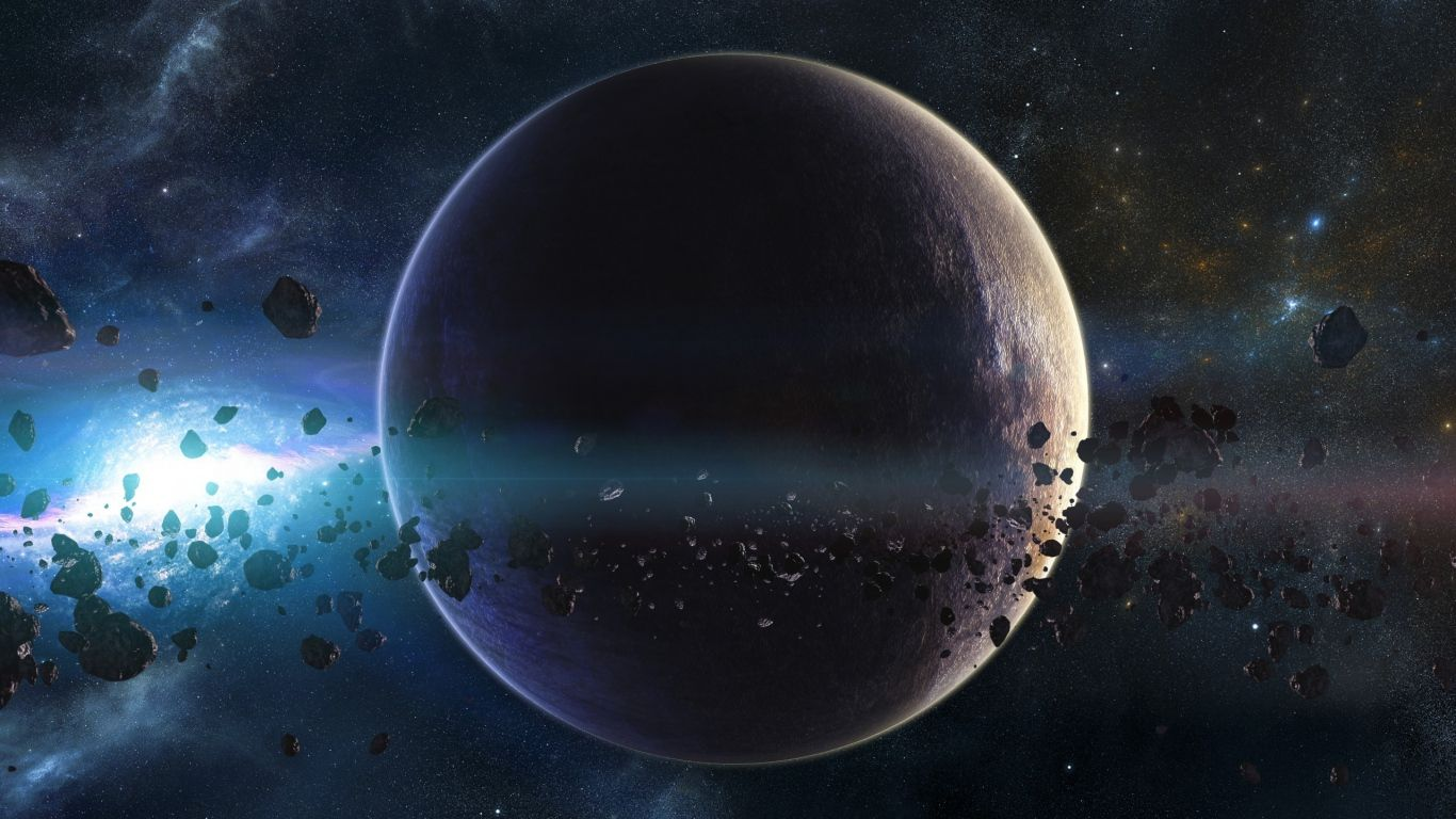 1366x768 wallpaper space planets asteroids stars belt for Space wallpaper 1366x768