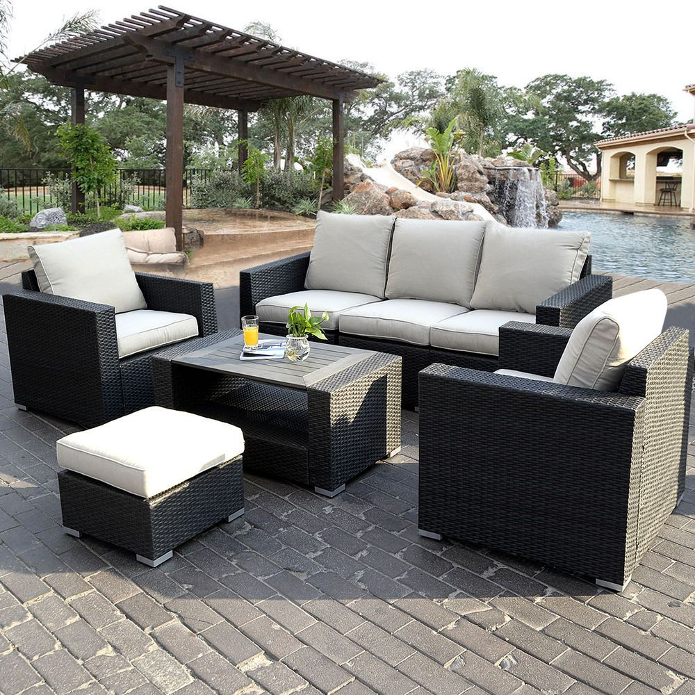 7pc outdoor patio patio sectional furniture pe wicker rattan sofa set deck couch unbranded