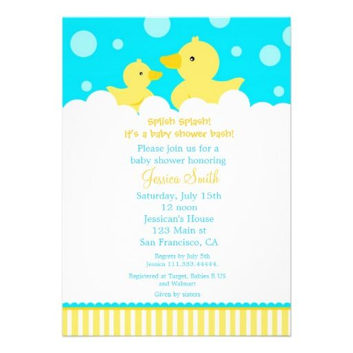 rubber ducky duck baby shower invitation from zazzle rubber ducky duck baby shower birthday party favors 512x512