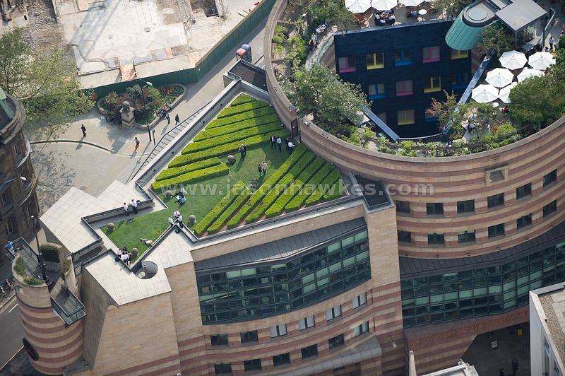 Aerial View Over 1 Poultry Roof Garden London Roof Gardens London Roof Garden Rooftop Garden