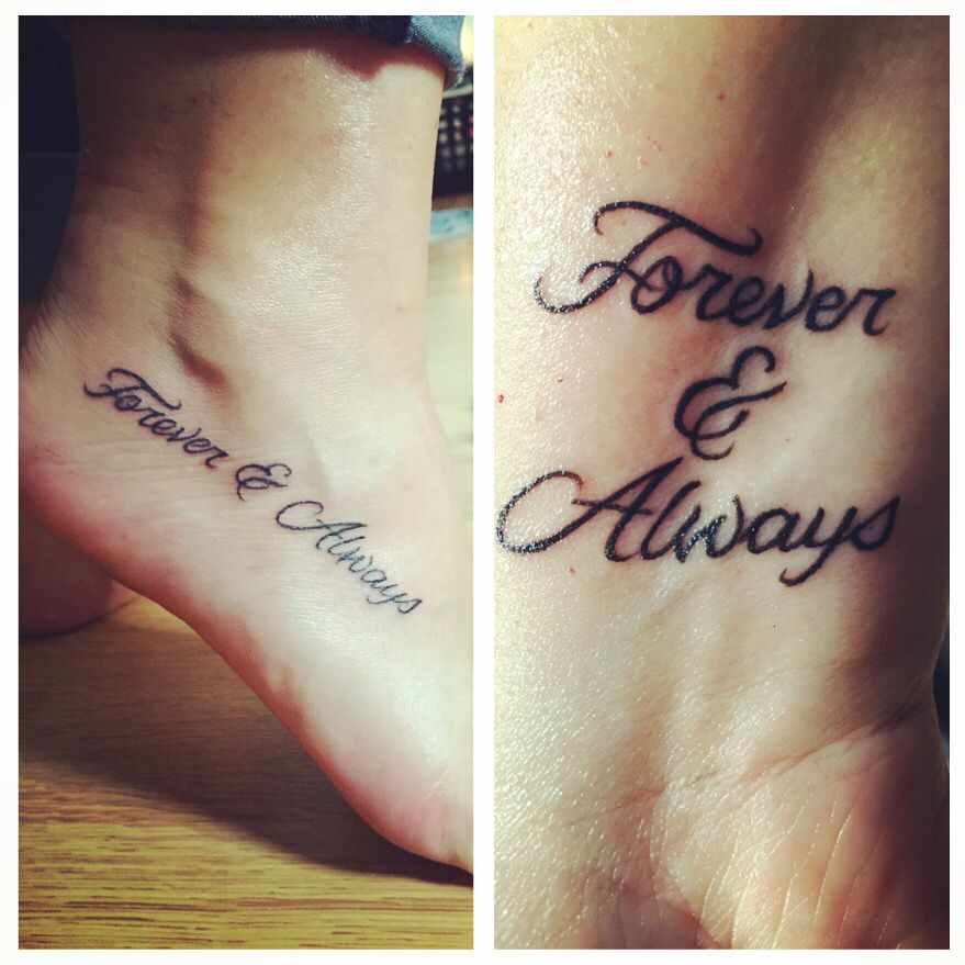 Mother And Daughter Matching Tattoos Mother Daughter Tattoo Tattoos Black Script Writing Forever Foot Tattoos For Women Foot Tattoos Matching Tattoos