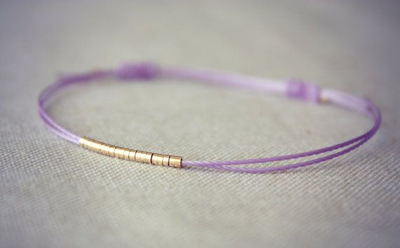 Friendship Thread Bracelet with Row of Gold Beads