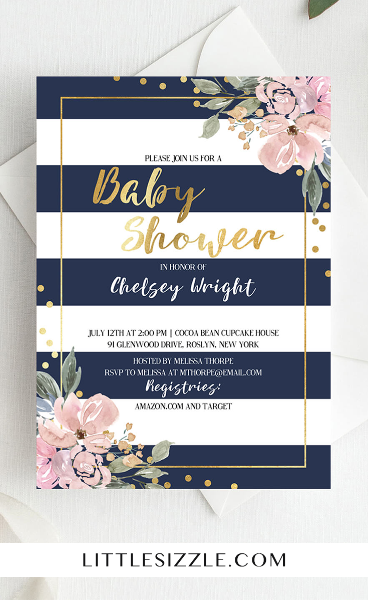 Pink Gold And Navy Baby Shower Invitation Florals