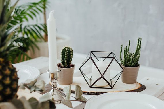 Geometric Candle Holders Wedding Table Lights Glass Geometric Box