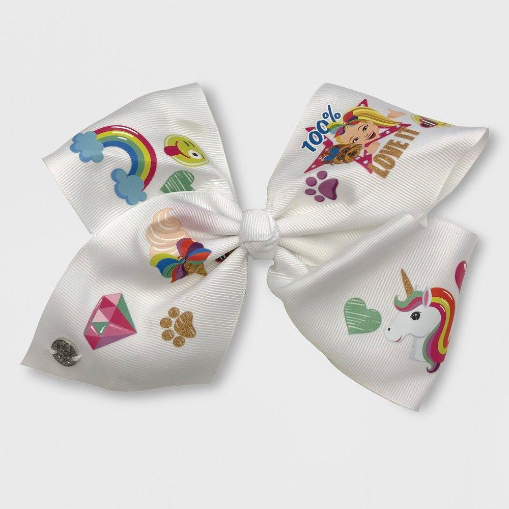 Girls jojo siwa white bow with emojis hairclip