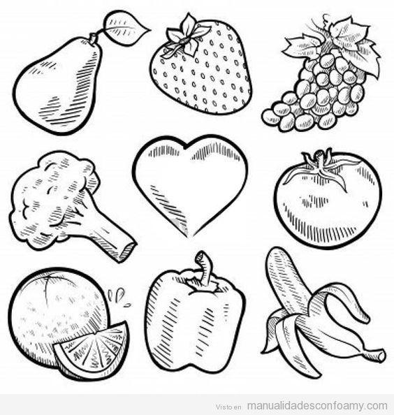 Plantillas Para Imprimir De Vegetales Frutas Y Verduras Paginas
