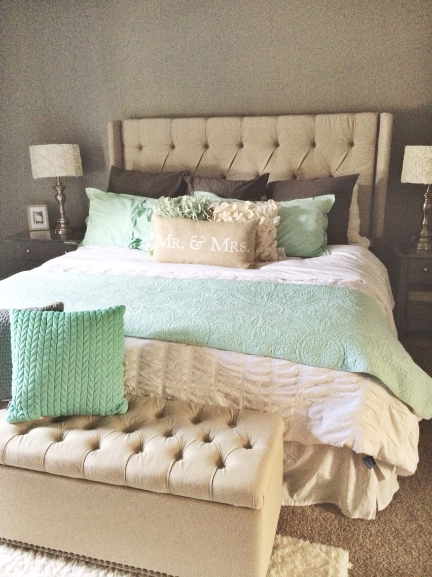 Master Bed Room Mint Gray White Tan Mint Bedroom Bed