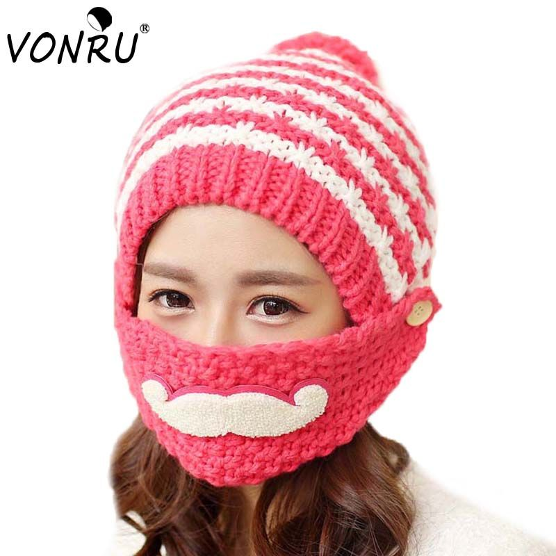 2016 Novelty Winter Striped Knit Ski Face Mask Hats Beanies Thicken