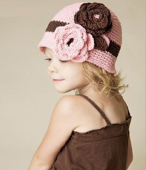 Girl Baby Children Handmade Crochet Knitting Flower Beanie Beret Cap Head Hat