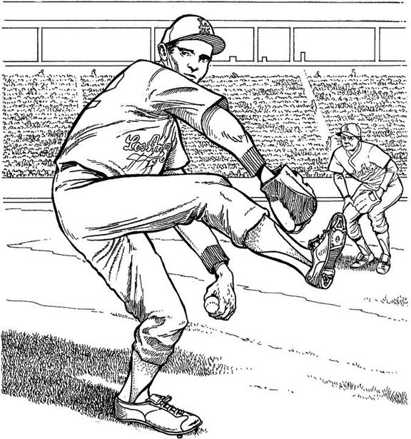 Hello Kitty Baseball Coloring Pages : Los angeles dodgers pitcher baseball coloring page