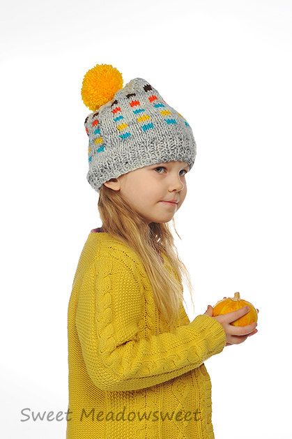 deafdc9717896 Baby Toddler Boy / Girl Hand Knitted Beanie Hat Grey with Orange ...