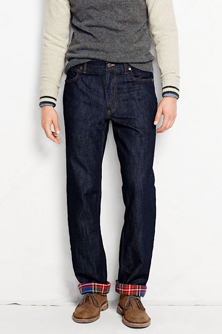 Men's Holiday Flannel Lined Denim Jeans from Lands' End