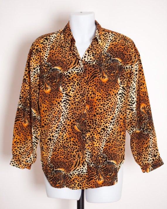 1ecd18e9 Vintage 80s 90s Women's Leopard Print Top Blouse - Christie & Jill ...