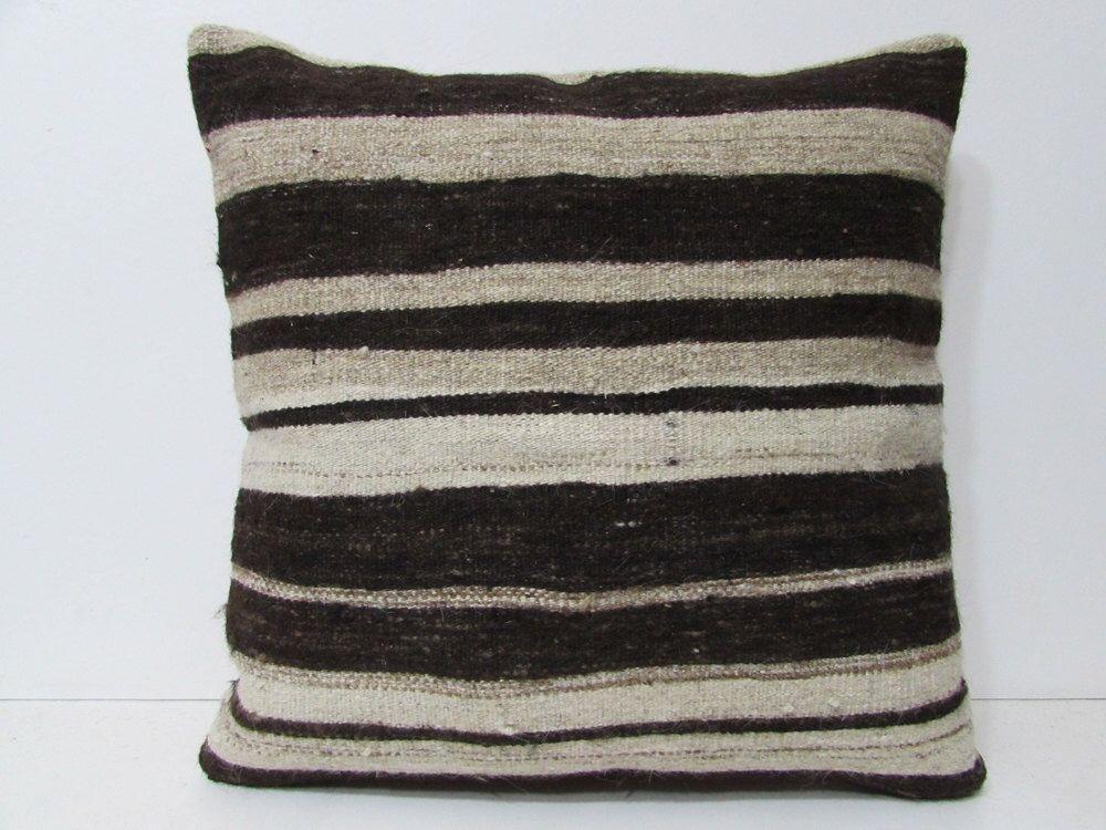 24x24 textures kilim pillow black throw pillow white decorative pillow kilim fabric oversized rug throw pillow