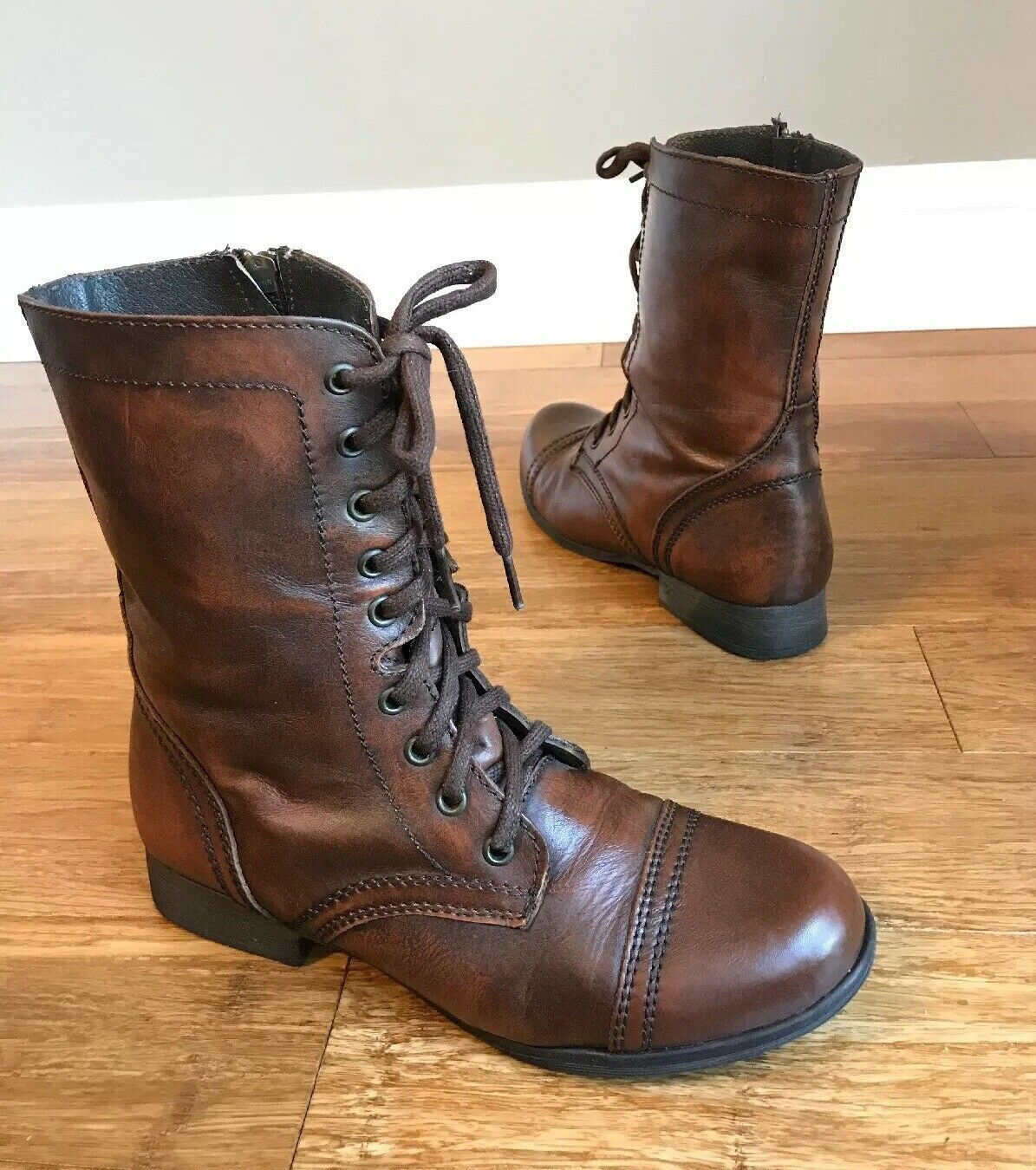 new design meet 2018 sneakers FORSALE Steve Madden Womens Troopa Brown Leather Lace Up Combat ...