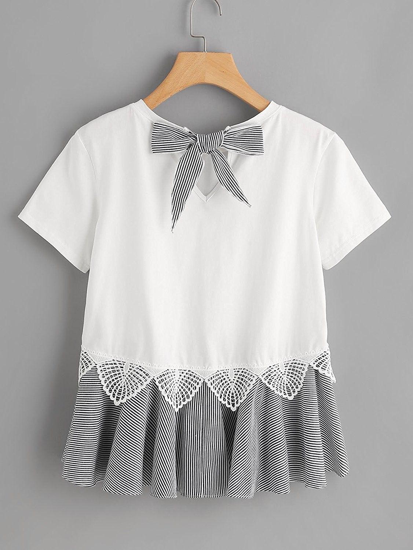Women' Short Sleeve Summer T Shirt Peplum Top – Black White – CA1862CUU3C