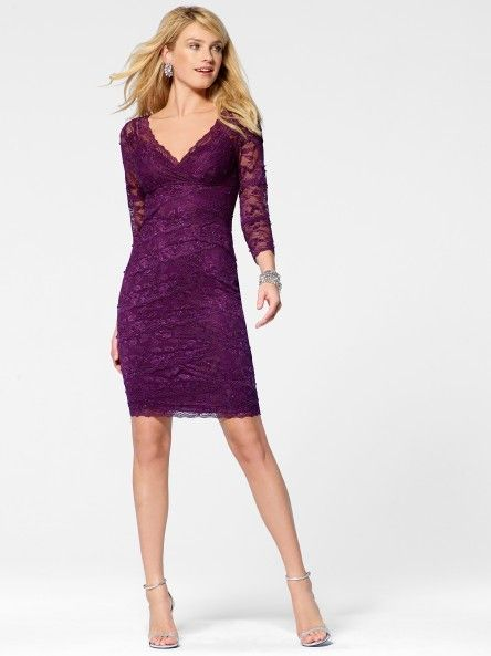 5e267a7ae0f Plum Lace V Neck Dress - Cocktail Dresses - Dresses