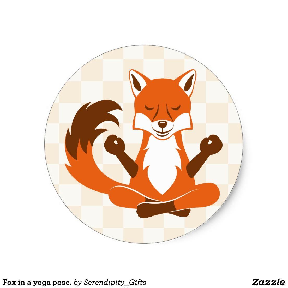 Fox in a yoga pose. round sticker