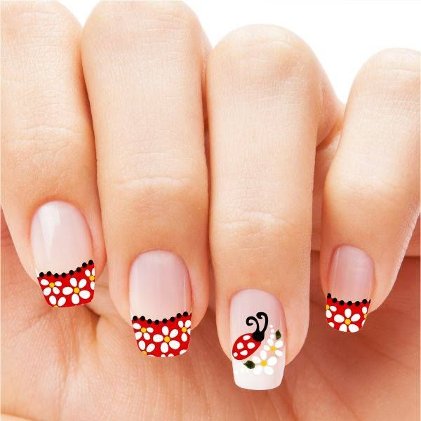 unhas artísticas e desenhadas, joaninha,unhas vermelhas, desenho, art nails