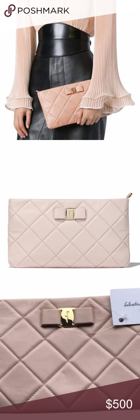 Salvatore Ferragamo Vara Quilted Leather CLUTCH New bisque nude powder pink  nappa leather  Vara adcc3884a2f04