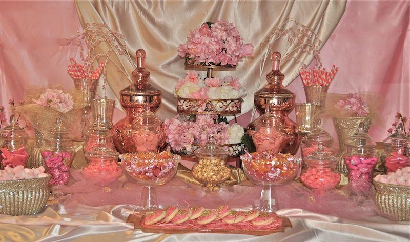 Wedding Blosson Dessert Table Ideas Pink Gold Cherry Blossom Candy Dessert Buffet Candy Bar Wedding Gold Candy Bar Gold Candy Buffet