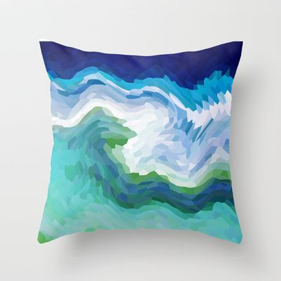 AQUA CRYSTALS Throw Pillow by catspaws - $20.00