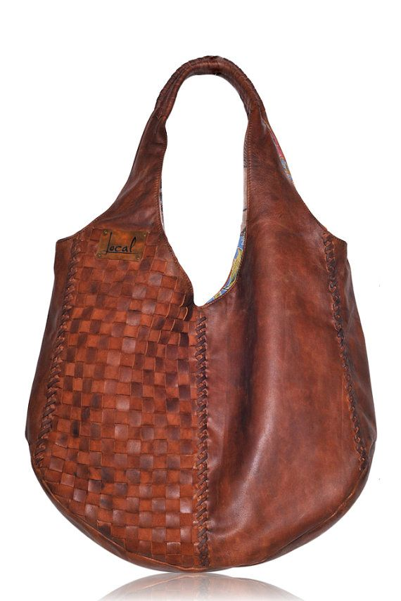 BELLA. Brown leather hobo bag / leather tote bag / oversized ...