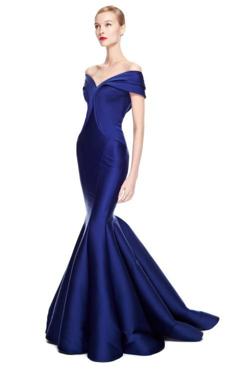 Stretch Duchess Off-The-Shoulder Gown by Zac Posen for Preorder on ...