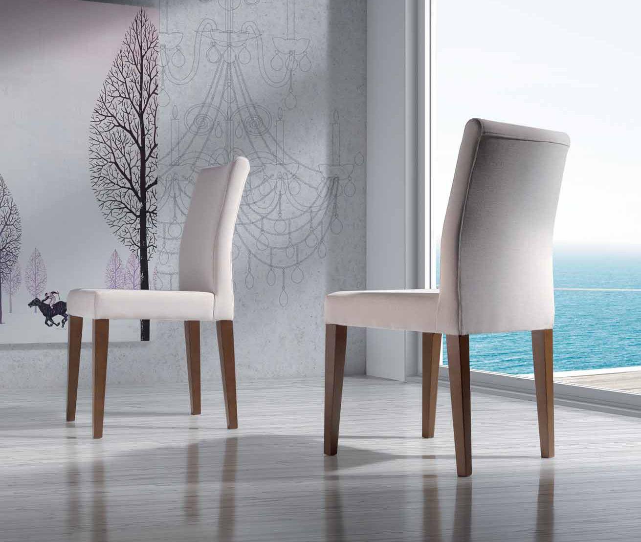 Silla moderna de comedor tapizada y patas en madera de - Sillas tapizadas modernas ...