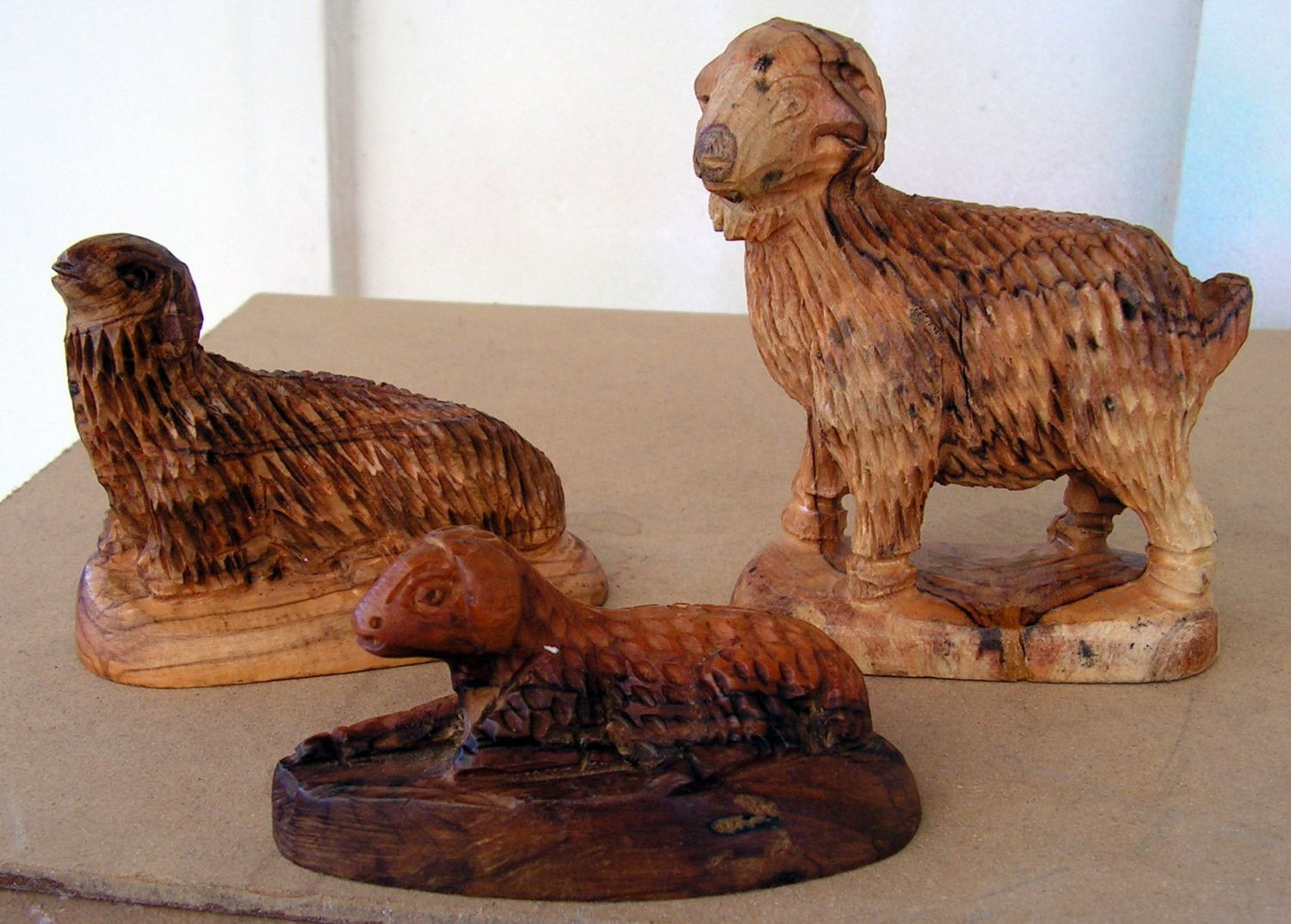 Hand carved sheep statues wood carving lamb figures wooden