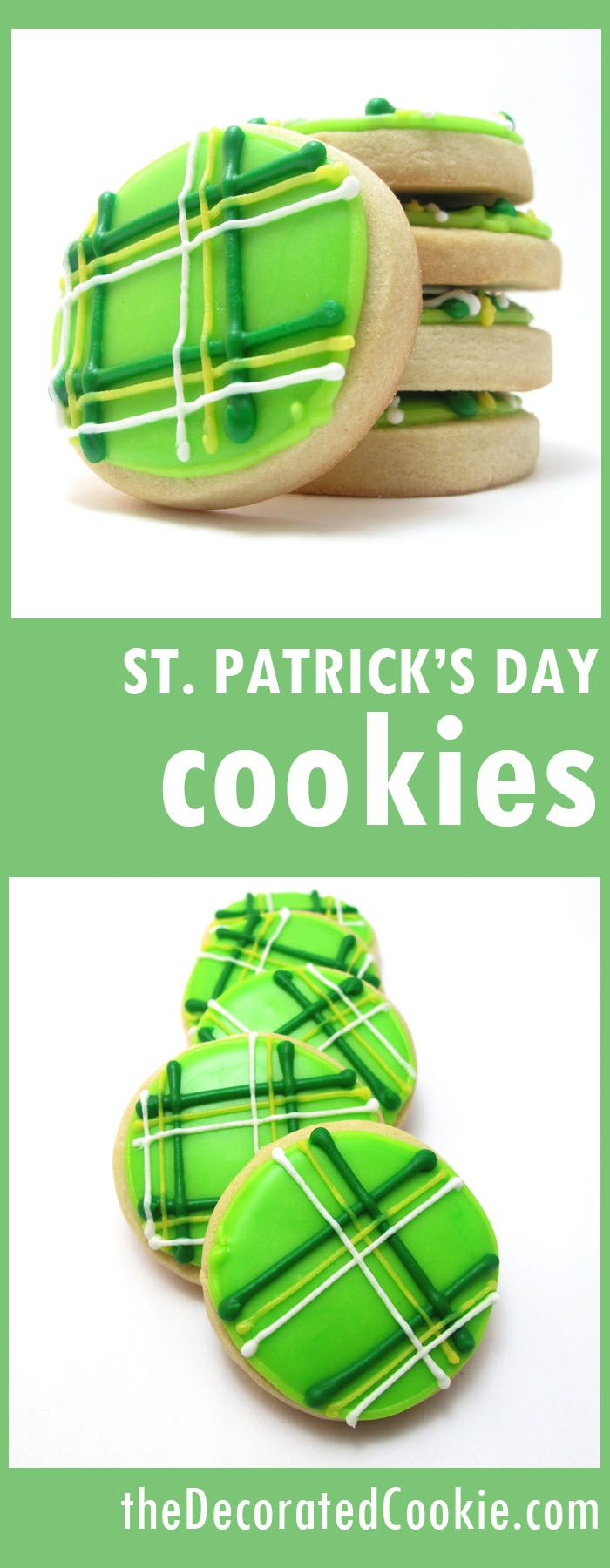 green plaid COOKIES for St. Patrick's Day