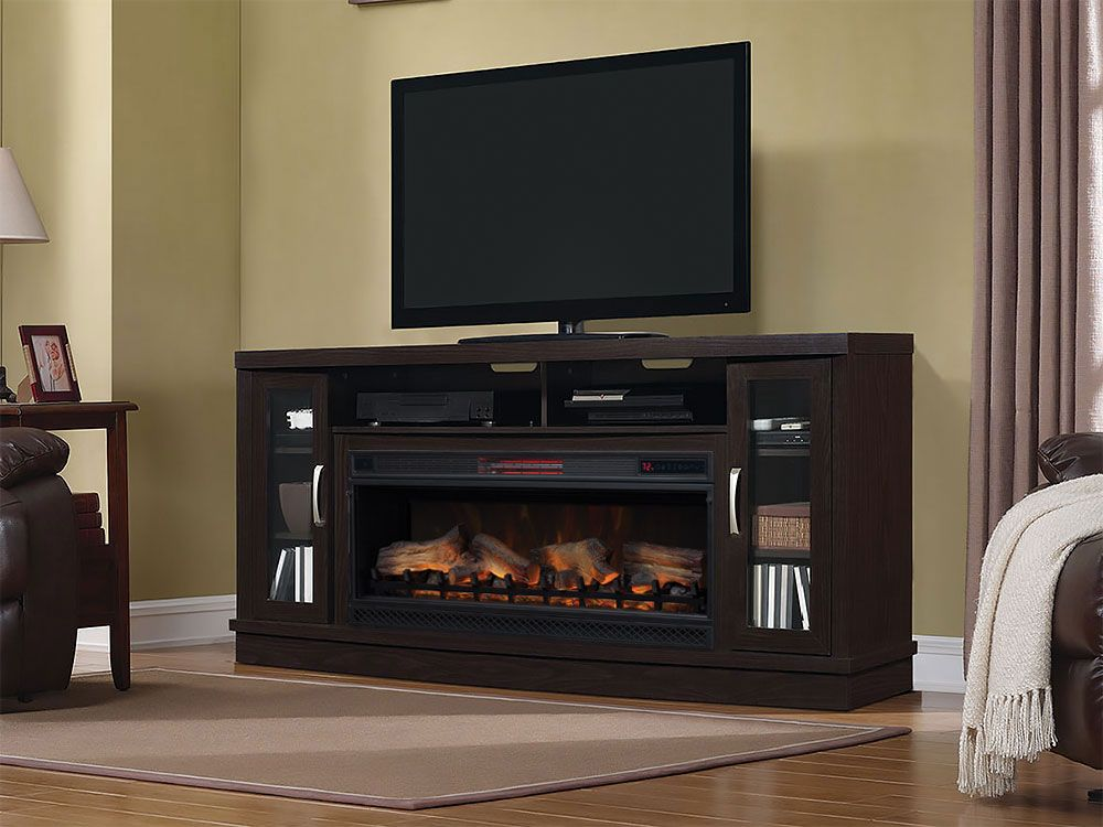Hutchinson Infrared Electric Fireplace Entertainment Center In Oak