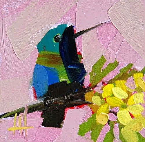 """Daily+Paintworks+-+""""Hummingbird+no.+91+Painting""""+-+Original+Fine+Art+for+Sale+-+©+Angela+Moulton"""