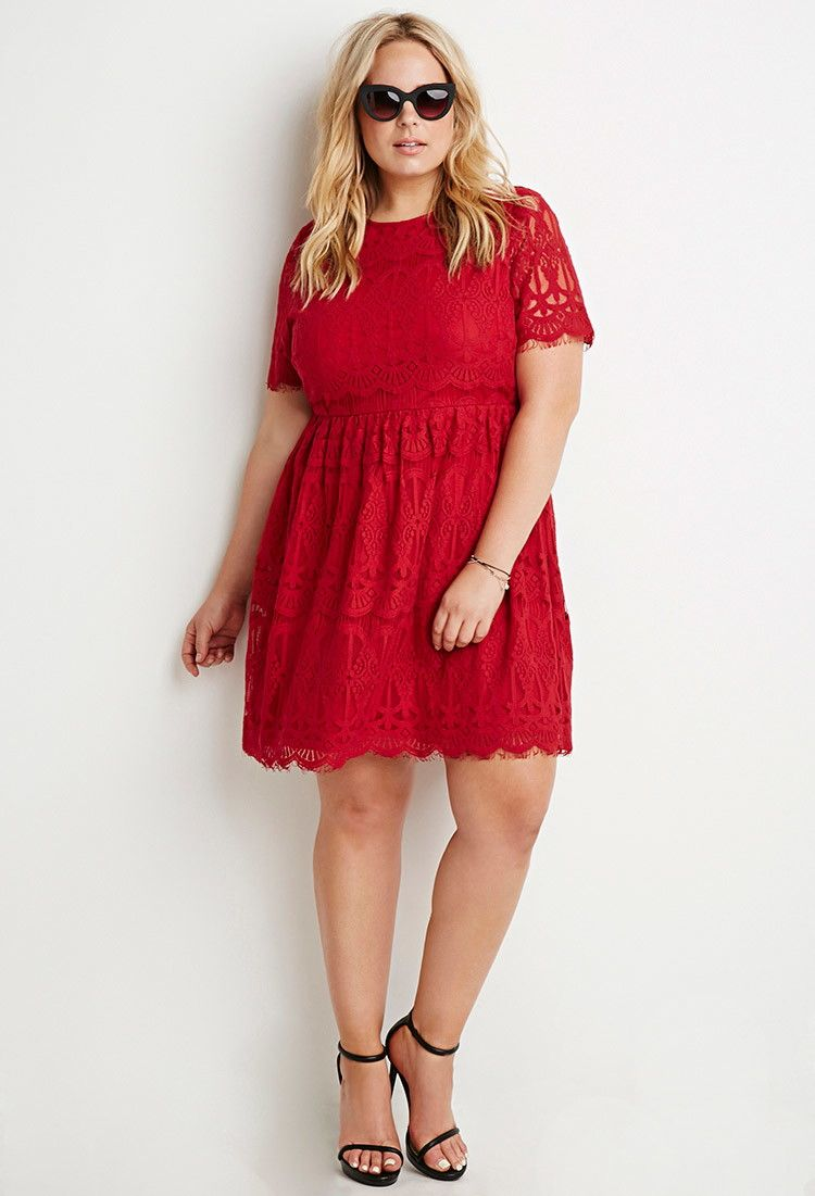 3de60620bacae Plus Size Eyelash Lace Fit   Flare Dress