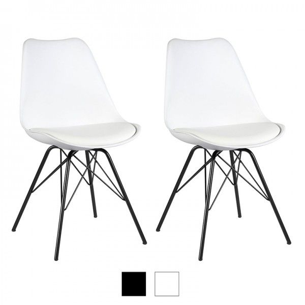 Premium White Eames Style Molded Plastic Eiffel Retro Dining Side