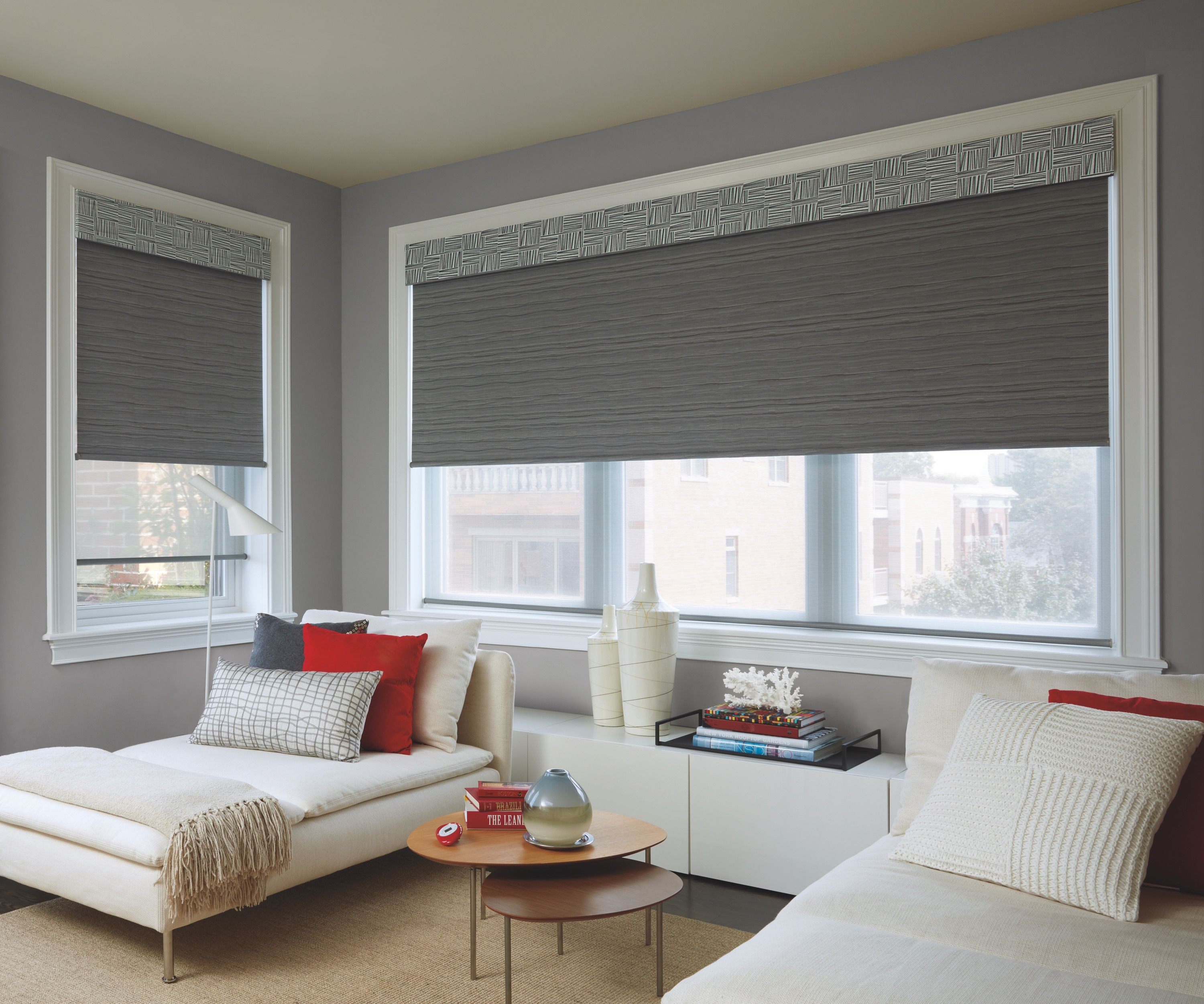 If You Love The View Through Of Screen Shades But Want Privacy At Night A Dual Roller Shad Window Treatments Living Room Living Room Windows Modern White Sofa