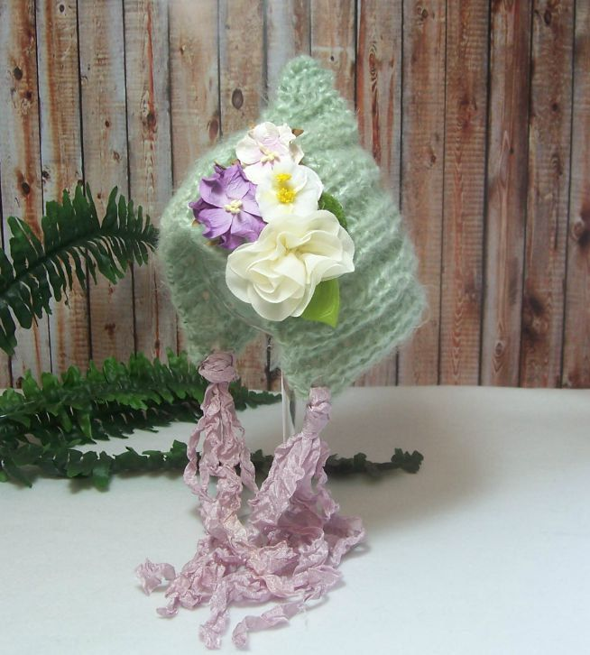 Flowers and Sage Newborn Bonnet, Baby Hat, Photo Prop, Pixie Bonnet, Baby Girl, Soft Pale Green Mohair Blend by dreamfancies on Etsy