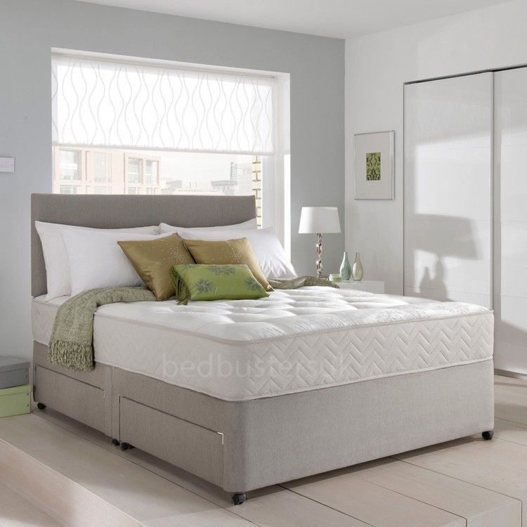 Lovely Details About MEMORY FOAM DIVAN BED SET WITH MATTRESS AND HEADBOARD 3FT  4FT6 Double 5FT King