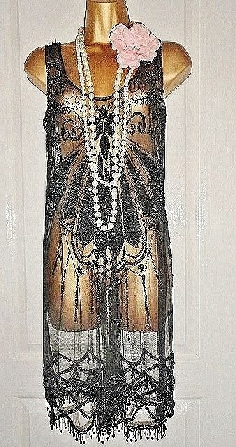 2c86eeb58b42 OASIS 1920's flapper inspired beaded dress + slip size UK 16 USA 12 E 42  Gatsby #OASIS #20s #Cocktail