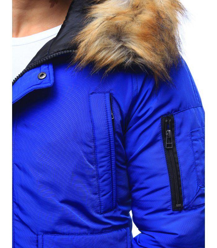 Pánska modrá zimná bunda s kapucňou  2ad504bc352