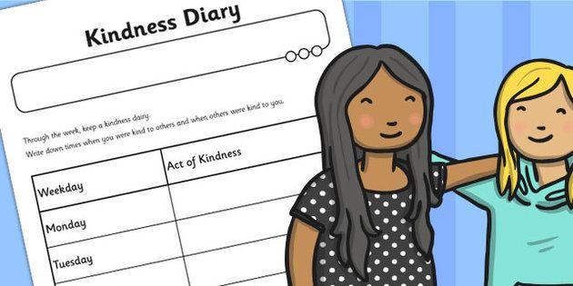 Kindness Diary Worksheet - kindness, diary, worksheet, sheet ...