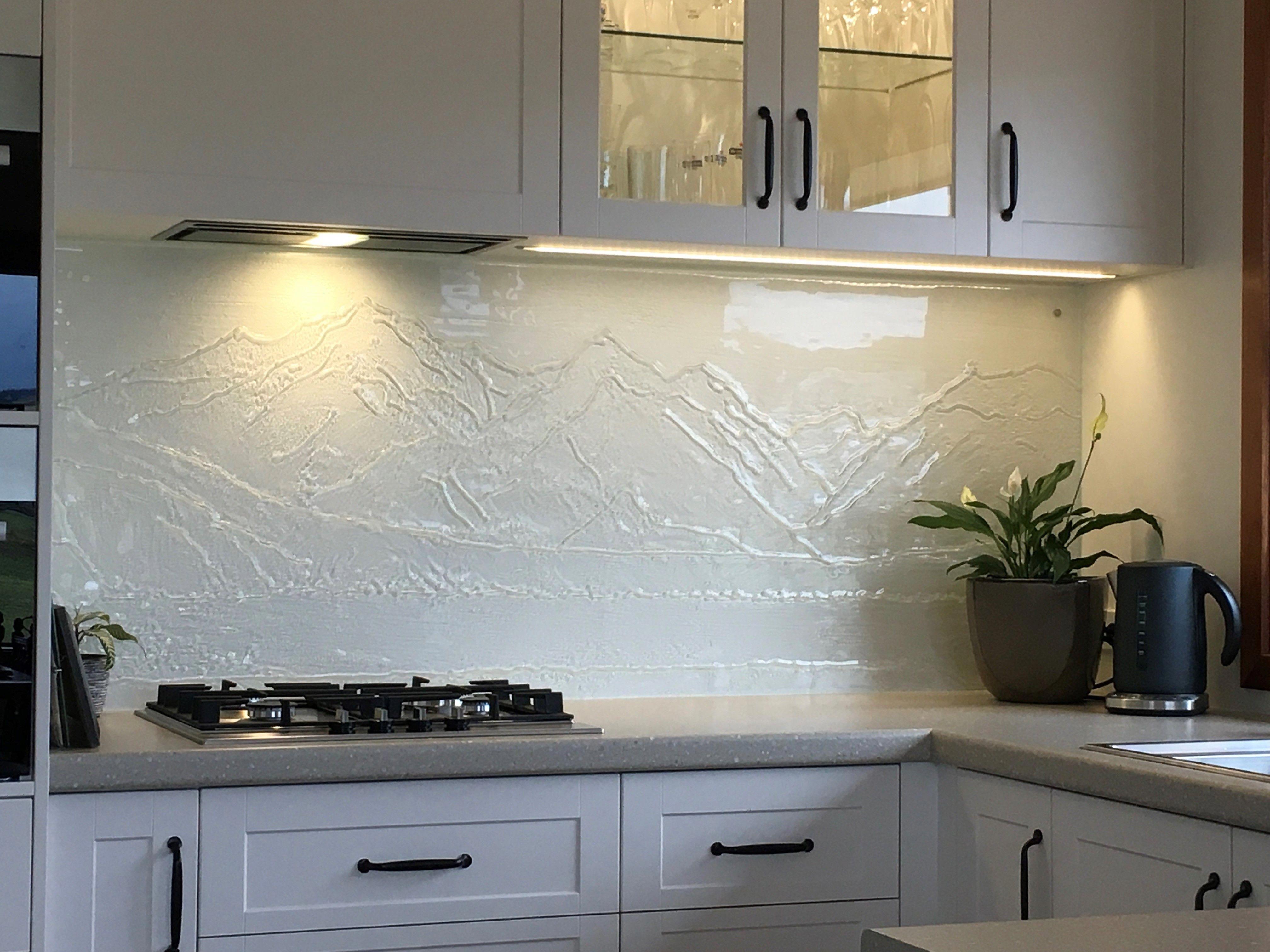 Mountain Range Nz On Glass Kitchen Splashback Kitchencabinetnz